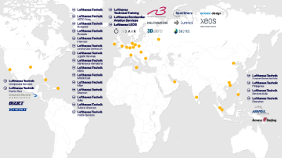 Worldmap Lufthansa Technik Group